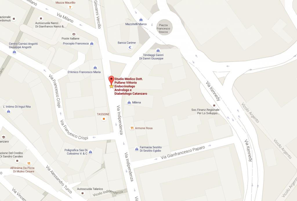 Mappa studio medico Vittorio Pullano Catanzaro